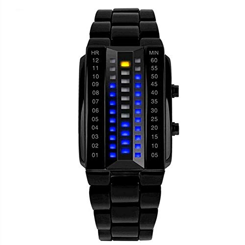 Ayanx LED Watch For Men Electronic Three Row Light waterproof Watch 3D Stereo Lens LED Bracelet Wrist Sport Watch (With Blue LED)