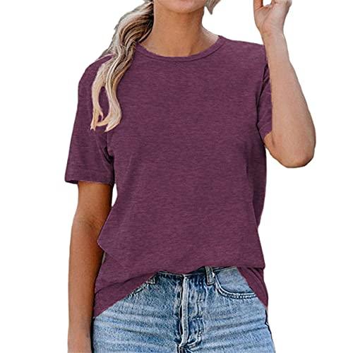 Camiseta de Verano para Mujer, Camisetas básicas con Cuello Redondo, Blusas básicas Informales en Color...