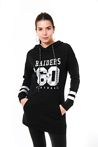 Ultra Game NFL Las Vegas Raiders Womens Tunic Hoodie Pullover Sweatshirt Terry, Team Color, Large