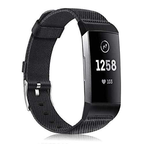 Fintie Armband kompatibel mit Fitbit Charge 4 / Charge 3 - Gewebearmband Uhrarmband aus Premium Stoff Ersatzband mit Edelstahlschnalle, Schwarz