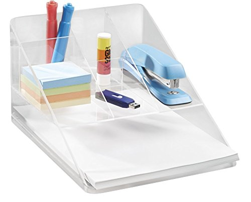 mDesign Organizer Scrivania e Ufficio - portaoggetti scrivania e da Tavolo con 5 vani e 1 ripiano Carta - Organizer Ideale per Post-it, graffette, Penne e Altri Accessori - Colore: Trasparente