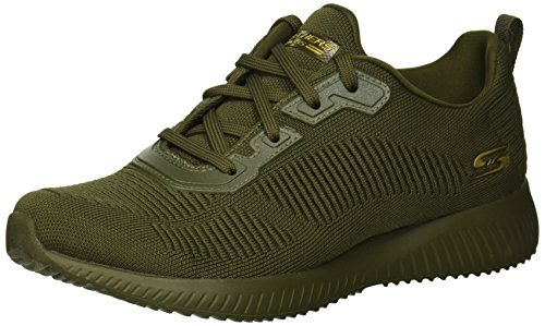 Skechers Women\'s BOBS SQUAD - TOUGH TALK Sneakers, Green (Olive Engineered Knit Old), 2 UK 35 EU