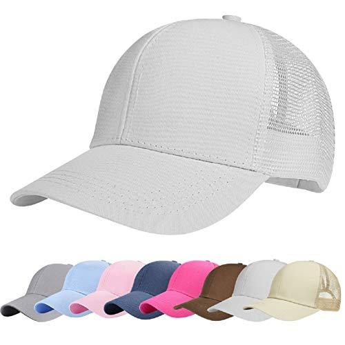 UMIPUBO Mesh Baseball Cap für Damen Basecap Outdoor Sport Mütze Lässig Baseballkappe Nettokappe Schachtelhalm Baseballmütze (Weiß)