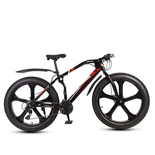 ZKHD Mountain Bike, 24-Speed 26-Inch Thick Wheels, One-Piece Frame, Bionic Front Fork, Snow Tires,Black