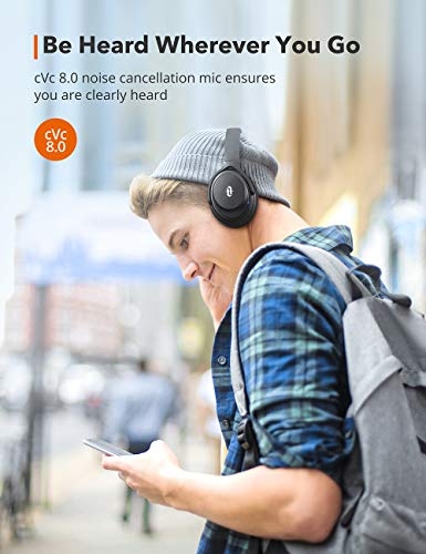 Active Noise Cancelling Headphones, 40Hrs Playtime TaoTronics USB-C Over Ear Wireless Headphones with Hi-Fi Deep Bass, Quick Charge Bluetooth 5.0 CVC 8.0 Mic [2020 Version]Headset for TV PC Cellphone