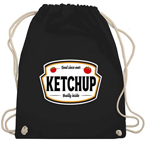 Shirtracer Karneval & Fasching Kostüm Outfit - Ketchup Kostüm Karneval Fasching - Unisize - Schwarz - ketchup turnbeutel - WM110 - Turnbeutel und Stoffbeutel aus Baumwolle