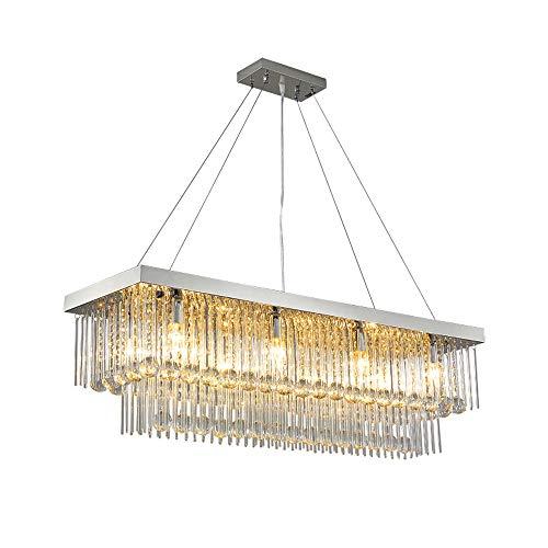 Lampadario di cristallo rettangolare LED Lampadario moderno semplice di personalità ristorante lampada da tavolo luce lampada di lusso Illuminazione E14 Sorgente luminosa a tre colori dimmerazione
