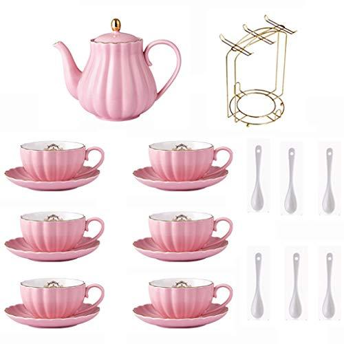 Tasse à café CSQ Service à thé d'après-midi, Ensemble complet Ensemble à thé en céramique avec thé noir Ensemble de thé à thé rouge parfumée Ensemble à thé à vin rouge Capacité: 800 ml Le thé de l'apr