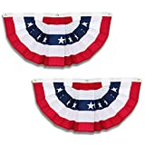 Pleated Fan Flags Bunting USA Decoration Flag American Patriotic Stars & Stripes 2 Pieces,3 x 3/2 Feet