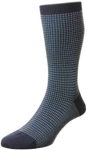 Pantherella Highbury Herren Socken aus Merinowolle mit Hahnentrittmuster, navy, Medium