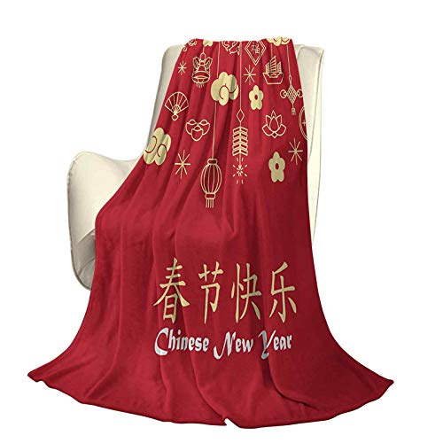 SUZM Chinese New Year Microfiber Plush Polyester Blanket Oriental Celebration Icons Swirling Clouds and Ornaments High-end Lightweight Anti-Static Blanket W60 x L70 Inch Dark Coral Pale Yellow White