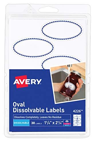 Avery Etiquetas ovaladas disolvibles, 1-1/8 x 2-1/4, paquete de 30 (4226)