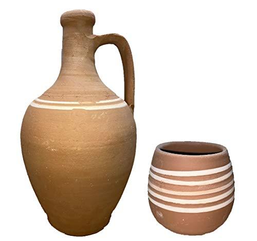 Avec tasses en céramique - Carafe faite à la main - Garde votre eau froide naturellement.
