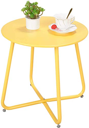 Grand patio Small Side Table,Various of Colours, Round Metal Garden Table,Lightweight, Weather Resistant, Outdoor Side Table for Living Room, Hallway, Bedroom, Garden, Terrace, Balcony (Yellow)