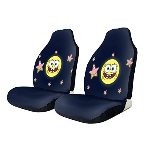 PFENK ZENRAEW Car Seat Cover Spongebob with Patrick Star Front Seat Protector Scratch-Proof Anti-Dirt 2Pcs