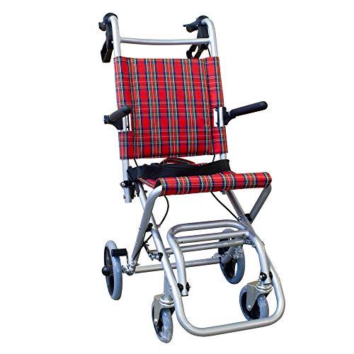 Mobiclinic, Neptuno, Silla de ruedas de tránsito, para minusválidos y ancianos, plegable, aluminio, freno en manetas, reposapiés plegables, reposabrazos abatibles, ligera, cinturón seguridad, rojo