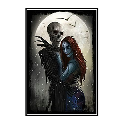 DuanWu The Nightmare Before Christmas Classic Movie Canvas Poster Print Wall Art Decor Picture Jack and Sally -50x70 cm No Frame 1Pcs