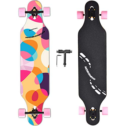 NOBONDO 104 cm Drop Through Longboard Skateboard - komplettes Freeride Longboard für Cruising, Carving, Free-Style und Downhill