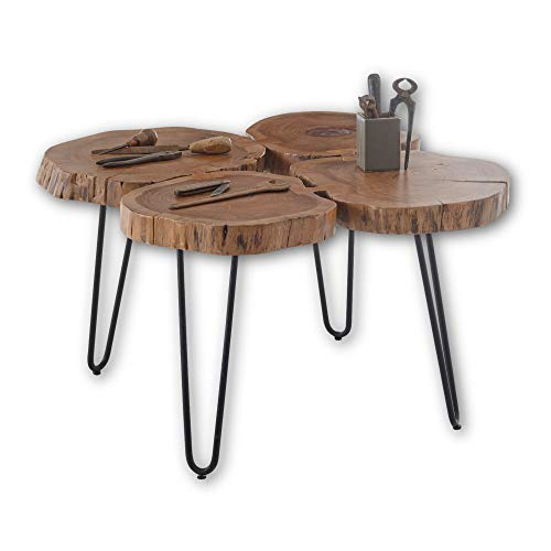 Stella Trading Mini Cole-Mesa de Centro de Madera Maciza de Acacia con Estructura de Metal Negro, 4 Baumscheiben