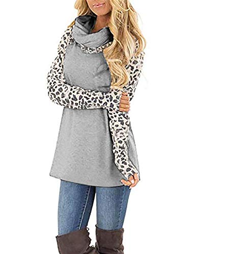 YSLMNOR Bow Neck Sweatshirt Womens Leopard Patchwork Pullover Tops Casual Long Sleeve Blouses Gray