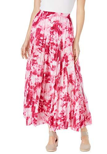 Woman Within Women's Plus Size Pull-On Elastic Waist Printed Skirt - 5X, Raspberry Sorbet Pretty Tie Dye Multicolored