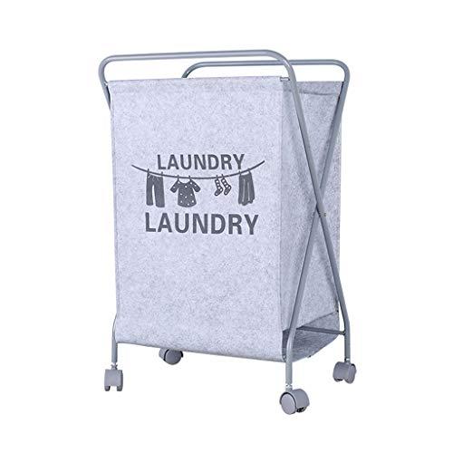 Wasmand, Wasverzamelaar Met 4-wiel Verwijderbare Stoffen Zakken, Waswagen, Wascontainer Op Wielen, Wassorteerder - Grijs