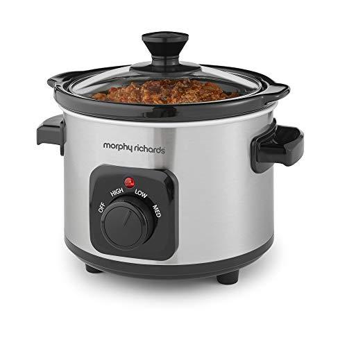 Morphy Richards 460300 Slow Cooker 1.5L, Ceramic, 1.5 liters, Brushed Steel