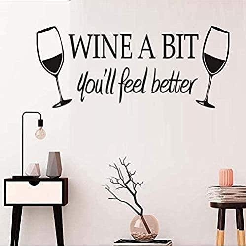 Pegatinas de pared Etiqueta de la pared DIY 58X25 cm vino tinto te hará sentir mejor calcomanía papel tapiz autoadhesivo