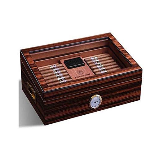YINGGEXU Humidor de cigarros Caja de cigarrillo, suave madera de cedro metal Bisagra hidratante Box Piano pintura de gran capacidad de la caja de cigarros, regalo, duradero (Color: Marrón, Tamaño: 28,