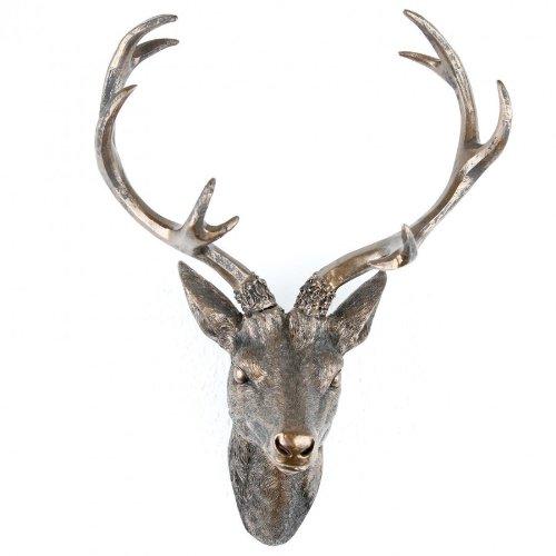 Geweih Hirschgeweih 30x18x40cm bronze Kunststoff 10Ender Hirschkopf Wanddeko