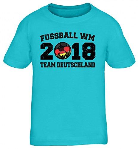 Germany Fußball WM Fanfest Gruppen Kinder T-Shirt Rundhals Mädchen Jungen Team Deutschland, Größe: 134/146,türkis