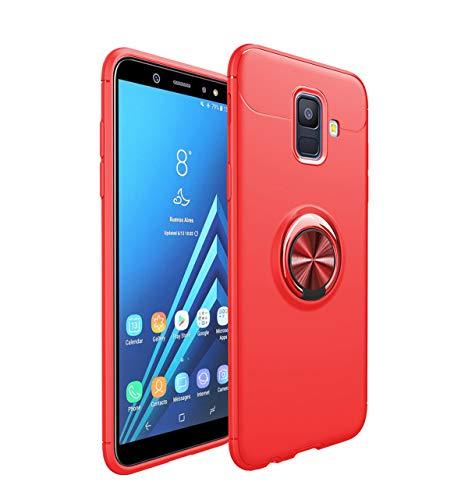 Yenks Custodia per Samsung Galaxy A6 Plus 2018, in silicone, con supporto girevole a 360 gradi, magnetico, ad anello, resistente agli urti Rosso + rosso. Taglia unica