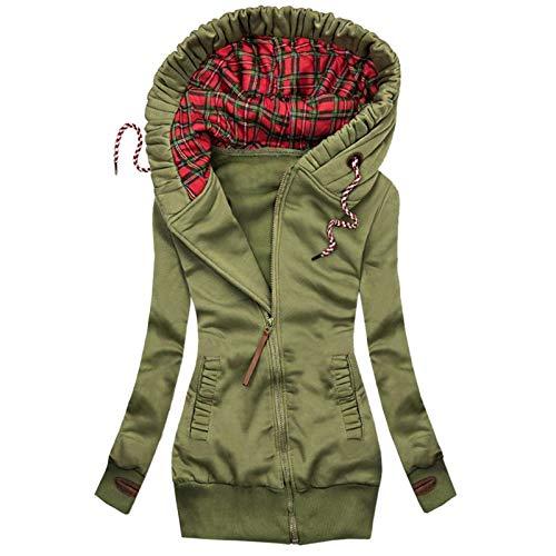 mkiuyeu Sudadera de mujer con capucha, manga larga, sudadera deportiva con cordón ajustable, ropa deportiva con cremallera, bolsillos y capucha, verde, L