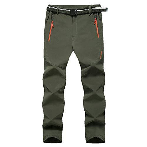 Mens Outdoor Trousers Waterproof, Chickwin Winter Sport Hiking Pants Mens Multi Pockets Walking Cycling Mountain Bike Windproof Climbing Sport Causal Pants (ArmyGreen,3XL)