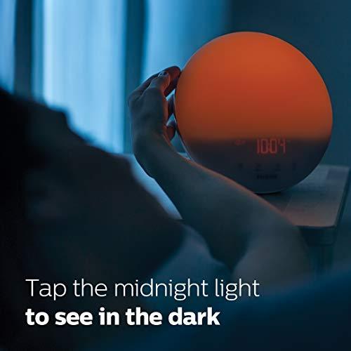 Philips HF3520/60 SmartSleep Wake-up Light, Colored Sunrise and Sunset Simulation, 5 Natural Sounds, FM Radio & Reading Lamp, Tap Snooze