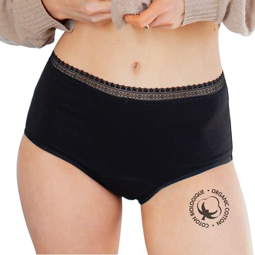 LIGNE V culotte menstruelle en coton biologique - idéale pour les règles avec flux abondants - lavable et réutilisable - convient aux adolescentes et aux grandes tailles - Taille XXL