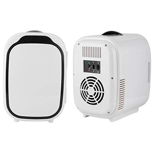 Wosune Nevera de Coche, Mini Nevera de Coche Blanca, Cable de alimentación portátil para Coche y hogar 6L Diseño silencioso Tienda(220V, European Standard)