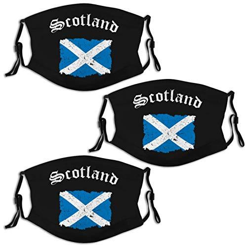 Vintage Scotland Flag 3 Pieces Face Masks Washable Reusable Adjustable Black Cloth Bandanas Scarf Neck Gaiters for Adults Men Women Kids