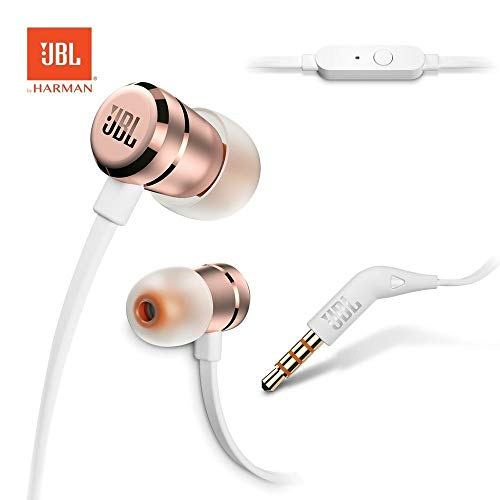 JBL Harman T290 Pure Bass Sound Sports Earbuds Wired 3,5mm Headphons - Rose Gold