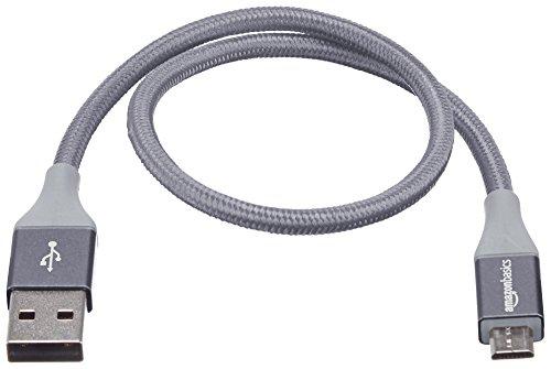 Amazon Basics - USB-2.0-A auf Micro-B-Kabel mit doppelt geflochtenem Nylon | 0,3 m, Dunkelgrau