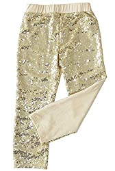 Light Gold Sequin Leggings Tights Cotton Sparkle on The Front