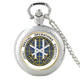 Joint Special Operations Command - Reloj de bolsillo de cuarzo de color bronce para hombres y mujeres, collar con colgante de horas, reloj de accesorios