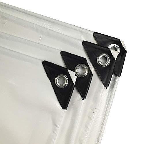 LJA Gran servicio pesado lona impermeable de PVC Lona con ojales, Home Depot sombrillas, cubiertas de camiones pesados, Blanco, 600 g/m² lona impermeable para trabajo pesado,5x5m