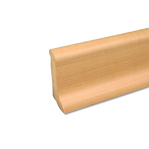 Echtholz Profil-Sockelleiste Fußbodenleiste aus Kiefer-Massivholz in Ahorn furniert 2500 x 20 x 58 mm