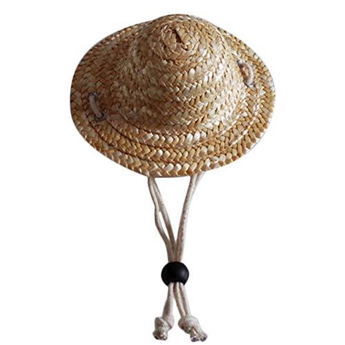 Ogquaton, cappello di paglia regolabile per cani e gatti, cappello da sole per animali domestici, viaggi, spiaggia, forniture eleganti e popolari