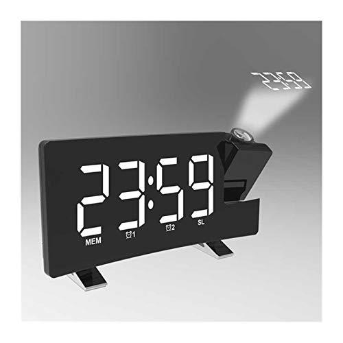 FM76-108 Banda Radio Reloj Digital 8 Pulgadas LED Proyector Proyección Snooze Reloj Despertador Radio Temporizador Retroiluminación 3W Altavoces Inicio (Color : 1)