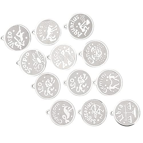 Colgante De Collar, Colgante De Signo Del Zodiaco De Acero Inoxidable 12 Unids/Set Antiguo Para Hacer Pulseras De Bricolaje Collares