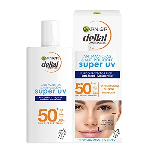 Garnier Delial Sensitive Advanced - Crema Facial Super UV Fluid con Ácido Hialurónico IP50+ - 40 ml