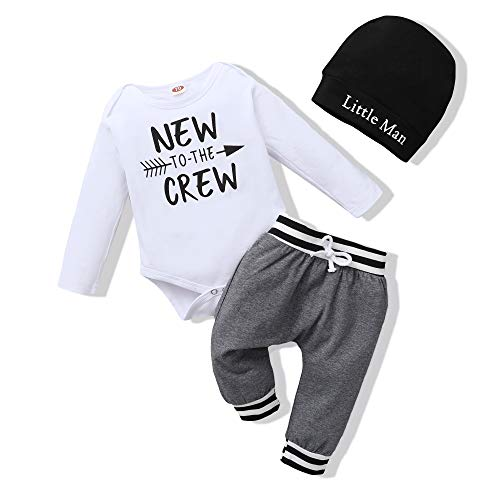 Newborn Baby Boy Clothes Long Sleeve Romper Outfits Set New to The Crew Outfits Baby Boy Clothes 0-3 Months