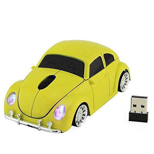 Winnes Mini Maus kabellos Wireless Mouse 2.4GHz Funkmaus Auto Style Maus Computer Maus ergonomisches Design Mini Mäuse mit USB Nano Empfänger Für PC Laptop iMac MacBook Microsoft Pro, (Gelb)